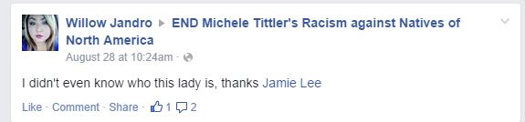 Jamie Lee proof of END Michele Tittler's racism against Natives of North America